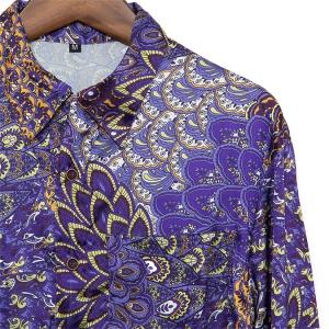 シャツ メンズ ペイズリー サテン  M L【メンズファッション カジュアルシャツ 長袖シャツ 大きいサイズ バンド ステージ衣装 ストーンズ スライダーズ】