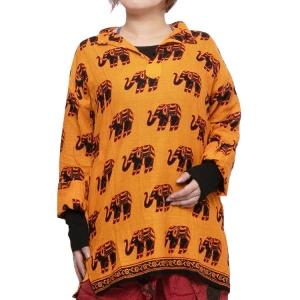 エスニック クルタ シャツ メンズ レディース 【エスニック ファッション アジアン ファッション ユニセックス スタンドカラー ゆったり 大きめ ゾウ イエロー】