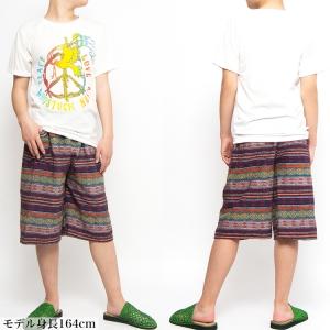 ハーフパンツ ショートパンツ メンズ レディース コットン フェスファッション エスニック ファッション アジアンファッション アウトドアファッション ネイティブ柄 男女兼用 ゲリ