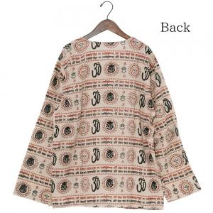 エスニック クルタ シャツ 長袖 メンズ レディース エスニックファッション アジアンファッション ガネーシャ 薄手 ゆったり 大きめ クルタ 定番