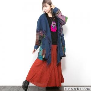 エスニック ロング カーディガン パッチワーク ストーンウォッシュ トッパー メンズ レディース ユニセックス 大きいサイズ アジアン ファッション 大きめ