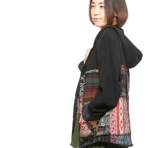 エスニック ジップアップパーカー パッチワーク ストーンウォッシュ メンズ レディース ユニセックス 大きいサイズ アジアン ファッション 大きめ