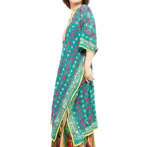 エスニック ポンチョ ロング 刺繍 レディース エスニックファッション アジアンファッション ゆったり 体型カバー 大きいサイズ スパンコール ビーズ ヒッピー