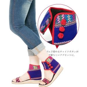 エスニック サンダル レディース 3.5cm ヒール 23.5cm-24cm カレン族 エスニックファッション アジアンファッション 靴 軽い 歩きやすい 刺繍 かわいい おしゃれ 送料無料