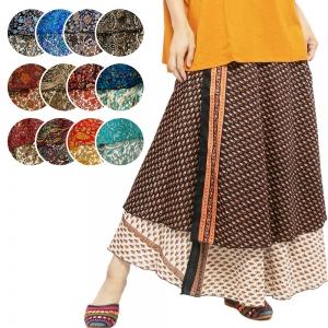 エスニック スカート ロング 巻きスカート 2way ラップスカート ジレ レディース エスニックファッション アジアンファッション ペイズリー サリー インド プリント かわいい おしゃれ