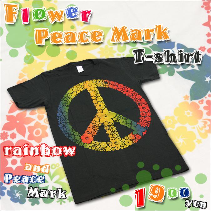 フラワーピースマークTシャツ【2カラーS~XLサイズあり】