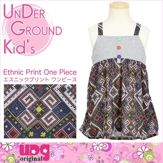 ★UNDER GROUND KID'S★子供服アンダーグラウンド・エスニックプリントワンピース