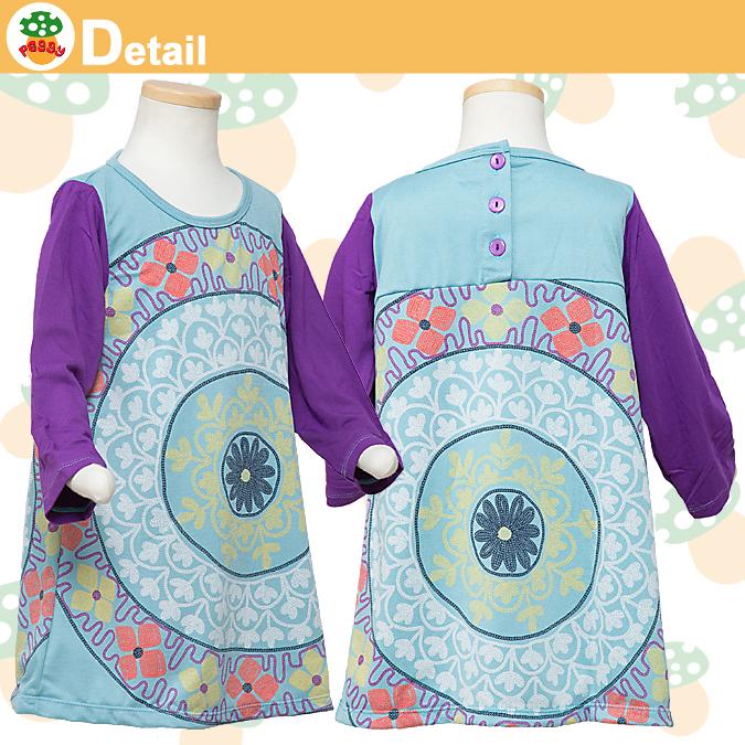 子供服Peggy★フラワープリント袖切替ワンピース★80~110サイズ |