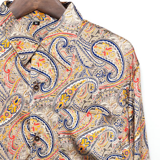 シャツ メンズ ペイズリー サテン  M グレー【メンズファッション カジュアルシャツ 長袖シャツ 大きいサイズ バンド ステージ衣装 ストーンズ スライダーズ】