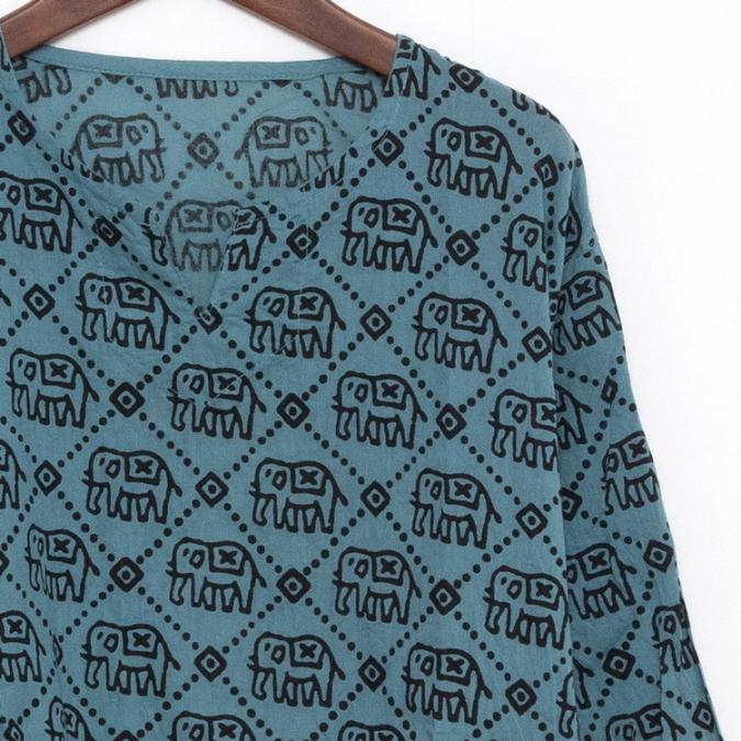 エスニック クルタ シャツ ブラウス メンズ レディース 【エスニック ファッション アジアン ファッション ユニセックス ゆったり 大きめ クルタ ヒンディー アッシュブルー】