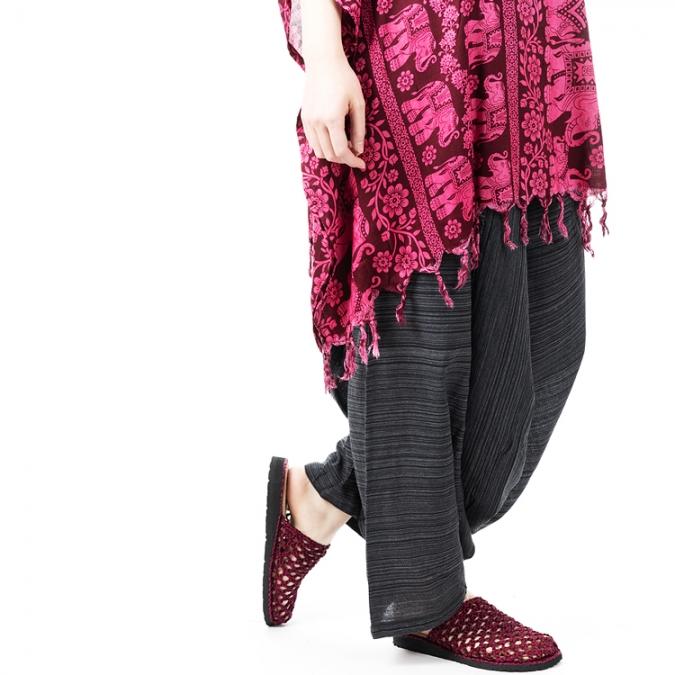 エスニック サルエルパンツ ストライプ織り 【メンズ レディース ユニセックス サルエル パンツ エスニックファッション アジアンファッション シンプル ゆったり おしゃれ】