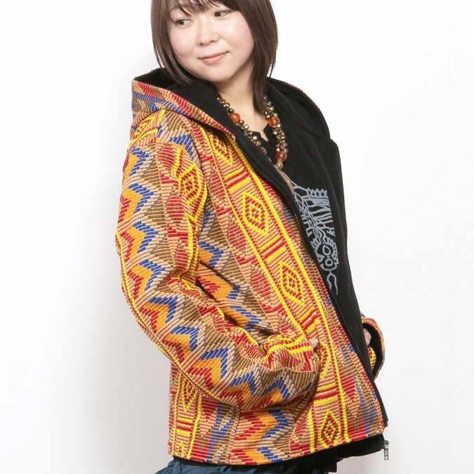 エスニック パーカー ジップアップ ジャケット アウター レディース メンズ 冬 あったか ツイード ネイティブ エスニックファッション アジアンファッション