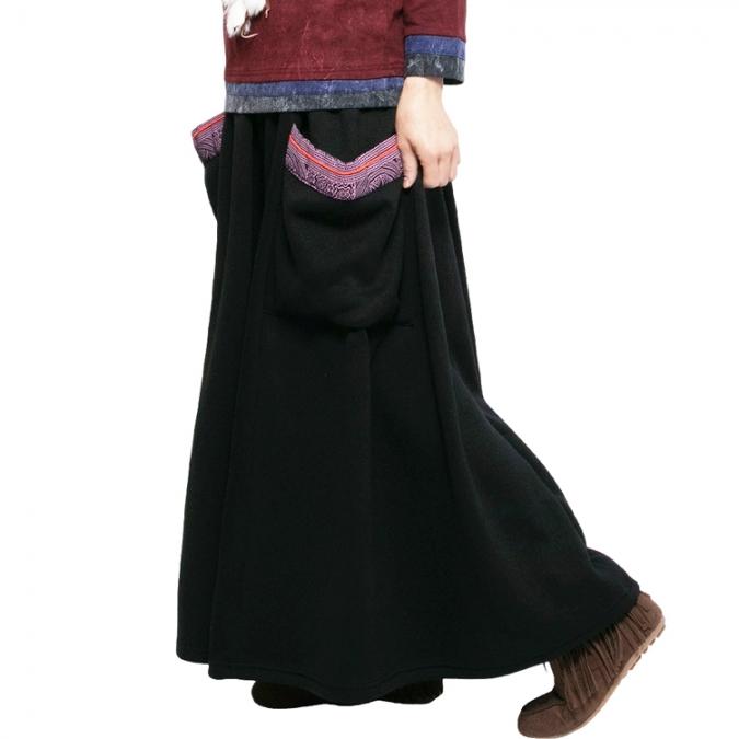 エスニック モン族 あったか 裏起毛 スカート スウェット レディース フレアスカート 黒 ブラウン 茶色 ブラック チャコール アジアン 冬 ゆったり 大きいサイズ かわいい