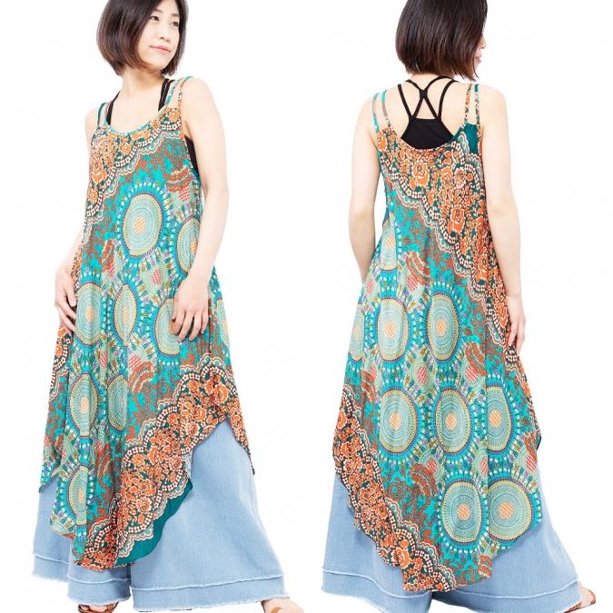 エスニック ワンピース キャミソール レディース 4カラー エスニックファッション アジアンファッション キャミワンピ アシンメトリー かわいい ゆったり おしゃれ