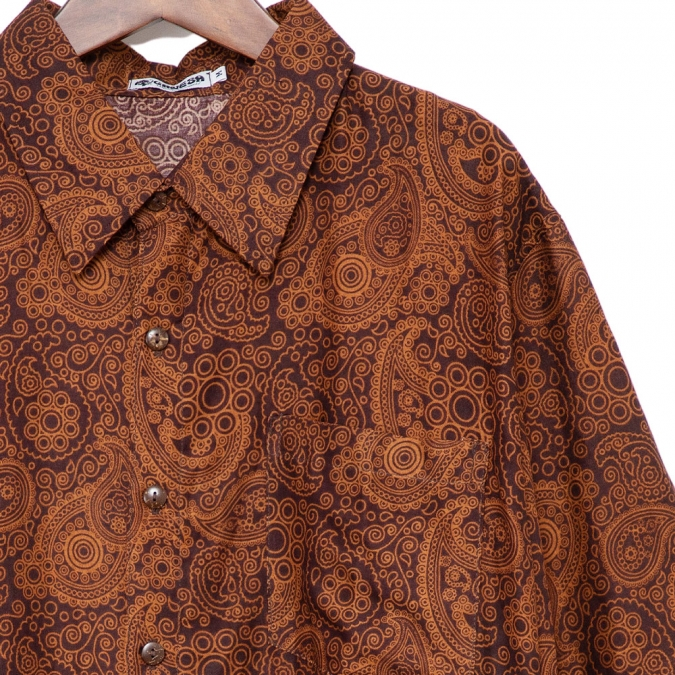 シャツ メンズ ペイズリー ブラウン S M L XL【メンズファッション カジュアルシャツ 半袖シャツ アロハシャツ 大きいサイズ バンド ステージ衣装 ストーンズ スライダーズ】